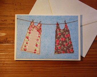Dresses out to dry - Handmade applique greetings card