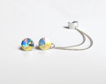 Silver Ear Cuff Earrings, Silver cuff earrings with crystals, Sterling silver earrings