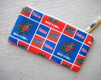 Gators Pencil Case/Cosmetic Zipper Pouch 5 x 10 inch  Eco-Friendly Padded ***Ready to Ship!