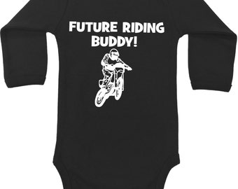 Future Riding Buddy dirt bike, dirtbike baby boy girl one piece bodysuit snapsuit creeper - any size