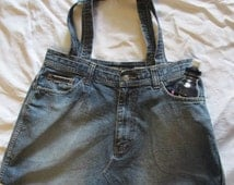 DENIM BAG Shopper Tote Recycled Upcycled Blue Jeans Handmade Sports Beach Travel Weekend