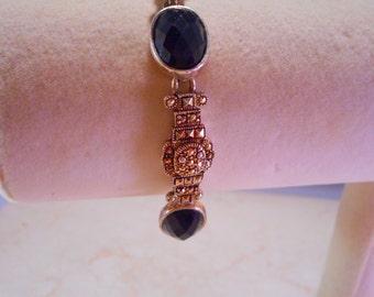 Black and Silver Marcasite Link Bracelet 7 1/2 inch