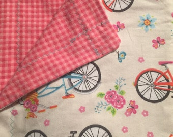 Pink Bike Toddler Blanket