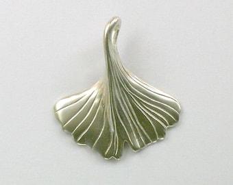 Sterling Silver 3-D Ginkgo Leaf Necklace