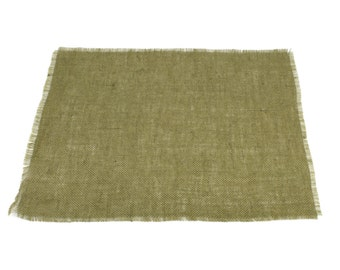 """Olive Green Burlap Placemats 13""""x17"""" (Pack of 6) fringe, fine weave, rustic country weddings, home decor. Available in other colors.(BF-P09)"""