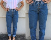 Vintage Denim 80's 90's Button-Fly Dark Wash Pepe Mom Jeans - Small