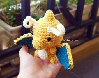 FREE SHIPPING Chibi Dragonite Made-to-order Crochet Amigurumi, Pokemon plush toy
