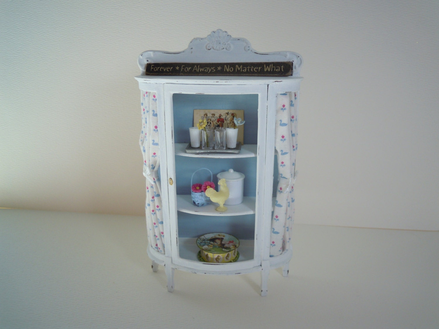 Miniature White Distressed China Cabinet With Glasses Candy