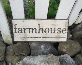 """Vintage Reclaimed Wood """"Farmhouse"""" Sign Wall Decor Painted Hand Crafted Distressed 18"""" L Primitive Rustic Stenciled Black White Minimalist"""