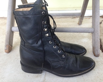 Vintage Granny Lace Up Boots/Combat/Western/Removable Kiltie/Black Leather/Acme Boot Co/Women's 6/Grunge/Goth/Steampunk/Riding/SALE PRICE