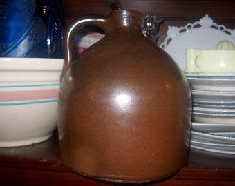 Antique Vintage Primitive Brown Stoneware Jug, Early, WAS 60.00 - 50% = 30.00