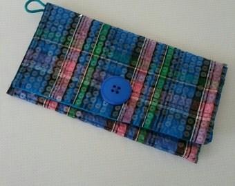 Plaid Sequin Clutch Blue button