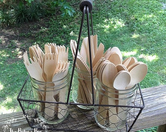 "150 Pieces • Smaller Size  5-1/2""  Disposable Birch Wooden Cutlery • Camping • Picnics • Weddings • 50 Forks • 50 Spoons • 50 Knives"