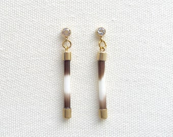 Quill Earrings with White Topaz Posts