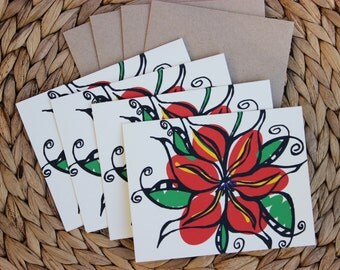 "Orange Red Flower Cards - 4 Pack - A2 (4.25""x5.5"") Blank Inside"