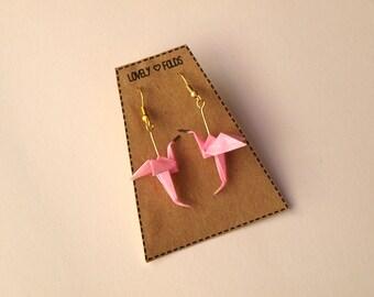 Origami flamingo earrings