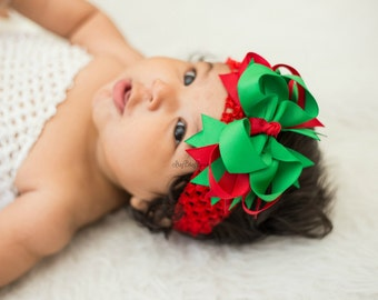 Christmas Headband Hair Bow - Red And Green Layered Bow - Christmas Hair Clip - Baby Girls First Christmas Bow - Christmas Grosgrain Bow