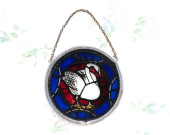 Swan Stained Glass Window Medallion - Hanging Ornament - Small Suncathcer