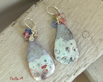 Torch fired enamel on copper and silver earrings - Artisan Jewelry by Emilia-M