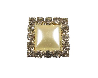 10 x Diamante and Pearl Crystal Rhinestone Square Pearl Embellishments Weddings Crafts (EM34)