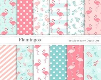 Flamingo Digital Paper, Flamingos Papers, Tropical Digital Papers, Wedding, Scrapbook Paper, Birthday, Baby Shower, Party Digital Papers