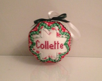 Red and Green Quilted Christmas Bauble