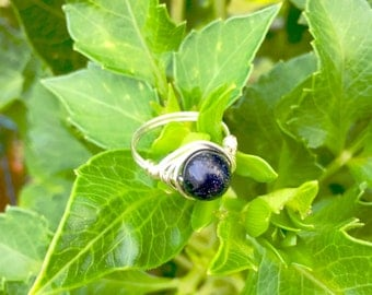 Blue Goldstone Wire Wrapped Ring (Free shipping in Canada!)