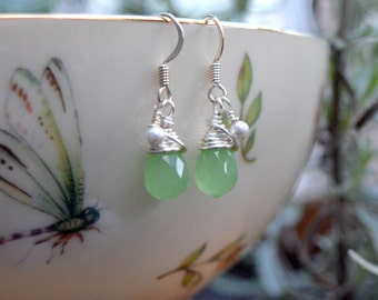 Green Agate Briolette Wire Wrapped Earrings (Free shipping in Canada!)