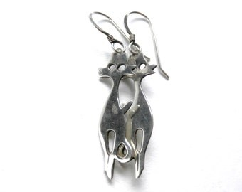 Silver Cat Earrings - Vintage