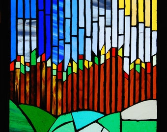 stained glass vertical forest
