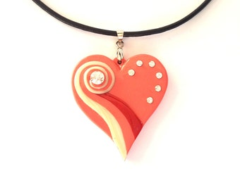 Valentines Day Heart Necklace, Polymer Clay Heart Pendant