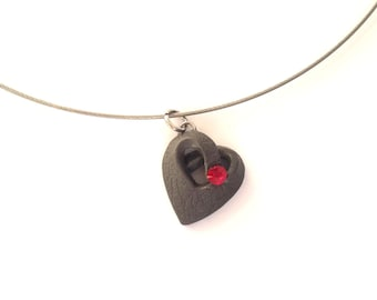 Valentines Day Abstract Necklace, Polymer Clay Heart Pendant