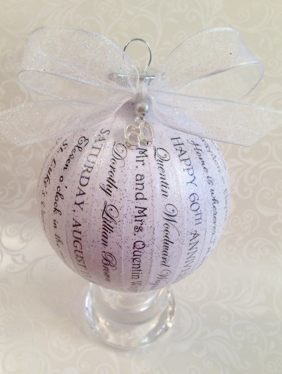 Unique 60th Wedding Anniversary Gifts : 60th Wedding Anniversary Personalized Ornament /Family Keepsake ...