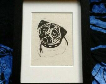Sad Little Pug Puppy 4x5 lino print art