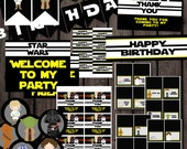 Star Wars birthday party package supplies, thank you tags, star wars water labels, star wars banner, cupcake toppers, instant download