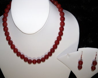 A Lively Red Carnelian Necklace and Earrings. (2016184)