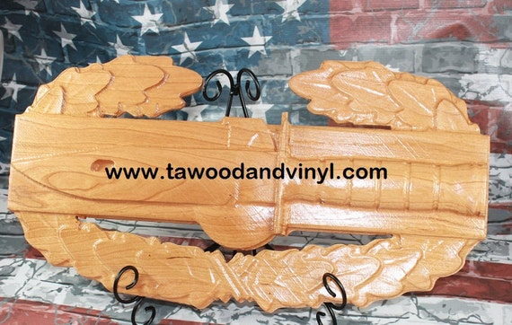 Army Combat Action Badge, Carved wood working, Veteran gift, Army gift, Carved Army Combat, Combat action, m9 bayonet,