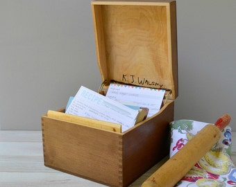 Large wood file box; vintage wood storage box with hinged lid; recipe file; keepsake box; photo box