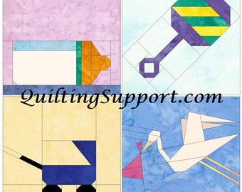Baby Set Paper Foundation Piecing Quilting 4 Block Patterns PDF