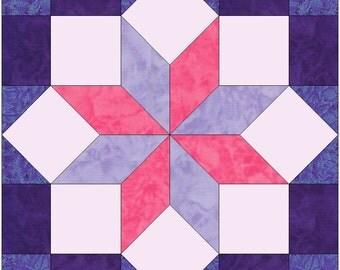 Cornered Star Paper Piece Template Quilting Block Pattern PDF