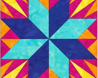 LeMoyne Ray Star Paper Piece Foundation Quilting Block Pattern PDF