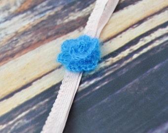 Blue- Flower Headband- Pink- Baby- Mohair