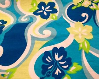 Blue Floral Cotton Lycra Knit