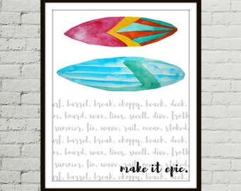 Surf Print, Surfer Girl, Surf Art, Surfboard, Surfing Art, Watercolor Art, Ocean Watercolor, Surf Decor, Surfing Artwork, Surf Artwork