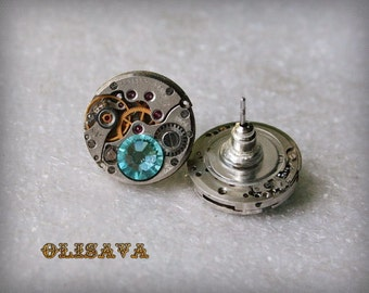 Steampunk Stud Earrings with  Mechanical Watch Movement and Swarovski crystals , Steampunk Earrings , Steampunk jewelry , Clockwork Earrings