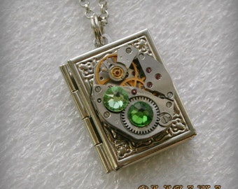 Steampunk Book  pendant /  locket /  necklace with  Swarovski crystals , Steampunk jewelry