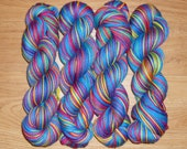 Blue Lagoon Rainbow Brite, 50g merino wool nylon blend sock yarn
