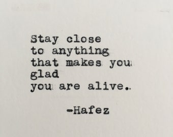 Hafez Positivity Quote Typed on Typewriter - 4x6 White Cardstock