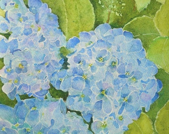 Fine Art Floral Watercolor Painting Original Full Bloom Blue Hydrangea Painting Flower Painting Green Aqua Purple Terri Robertrson