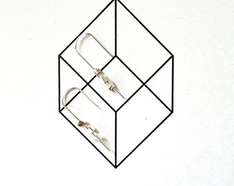 Earrings sterling silver reversible minimalist cubes - handmade